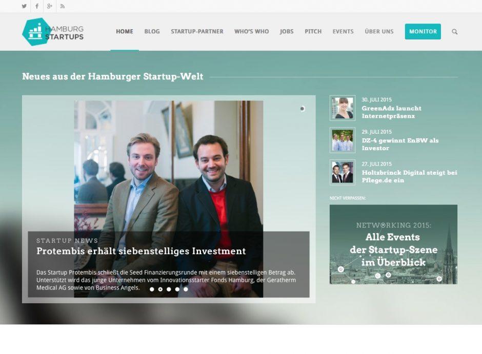 Startseite von Hamburg Startups