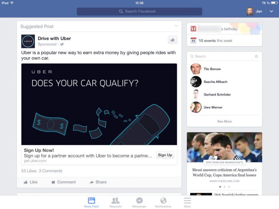 Facebook auf dem iPad mit einer Werbung von Uber.