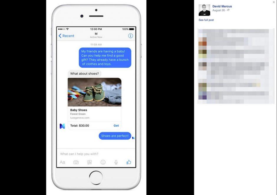 Abbildung 4: Facebook M, der persönliche Assistent hilft beim Aussuchen von Geschenken.