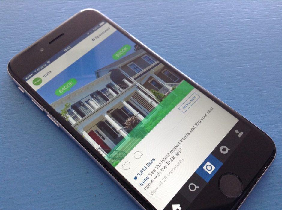 Instagram auf einem iPhone mit einer Anzeige im Stream.