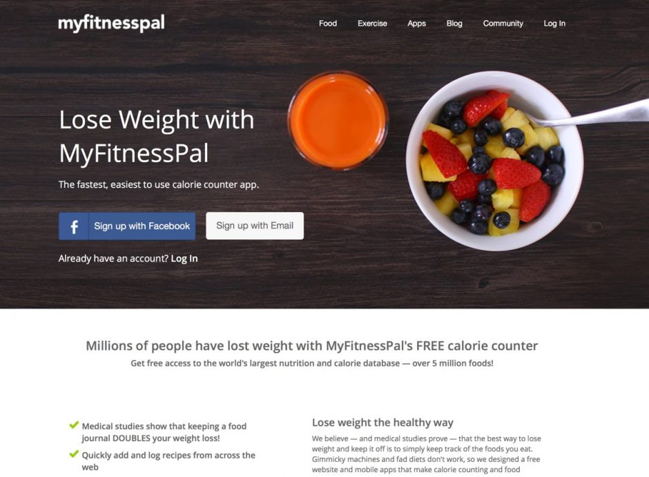 Website von MyFitnessPal