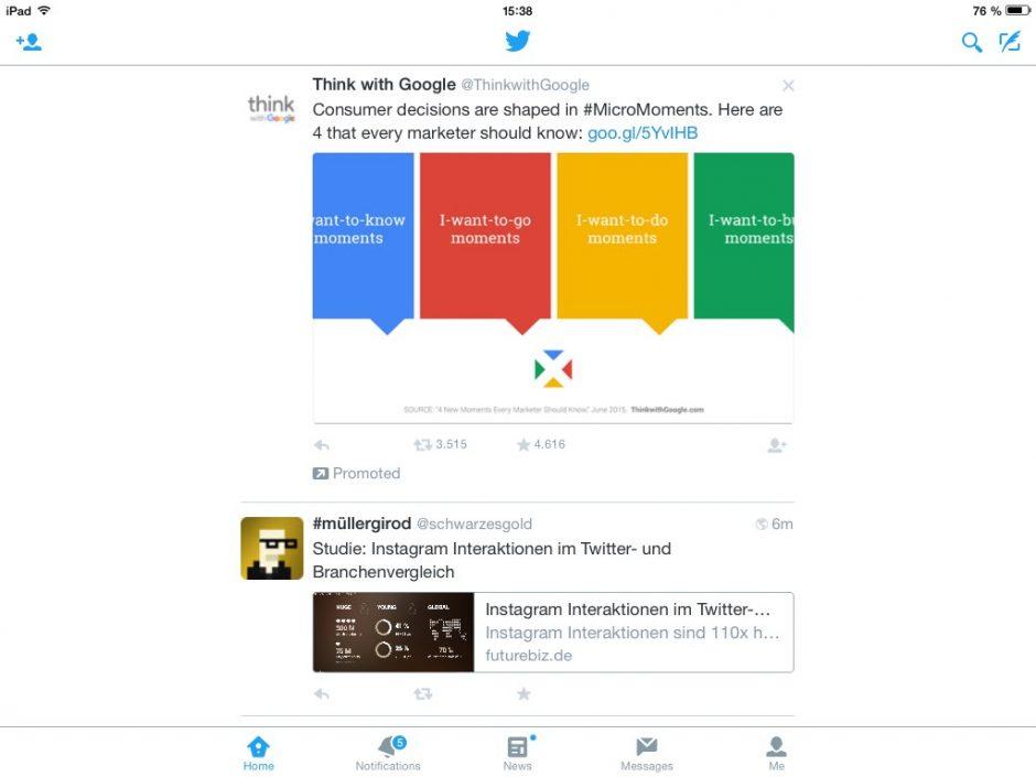 """Twitter auf dem iPad mit einer Werbung für """"Think with Google""""."""