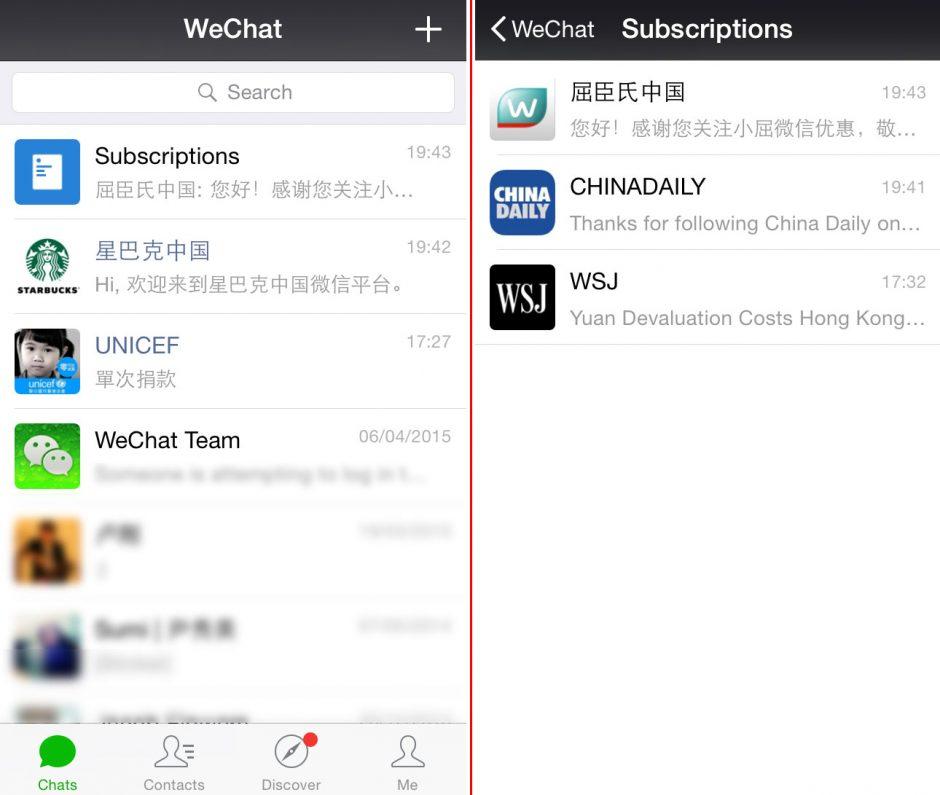 Abbildung 6: Links der Servicekanal zwischen den privaten Chats, Rechts die Abonnements.