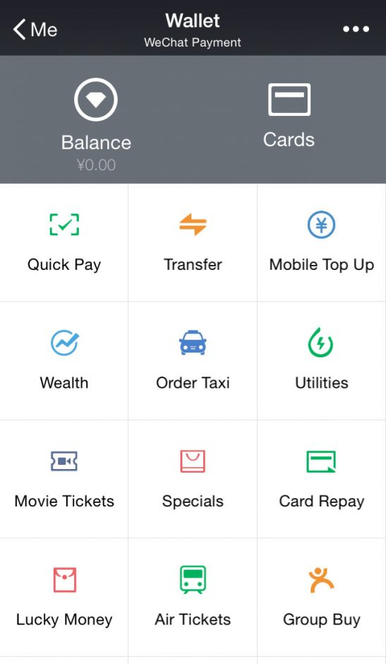 Abbildung 5: Das WeChat Wallet bietet dem Nutzer eine Reihe von Services an.