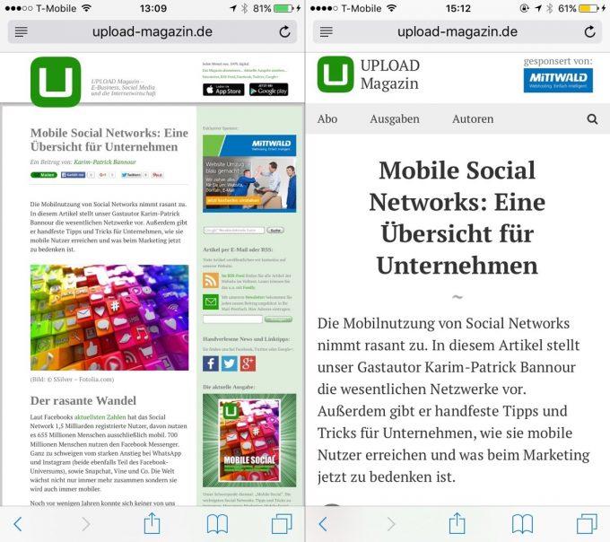 Artikel im alten und neuen Layout auf einem iPhone 6.