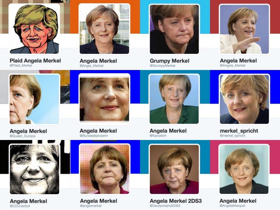 """Einige der Accounts, die man auf Twitter bei der Suche nach """"Angela Merkel"""" findet. Keiner davon ist echt."""