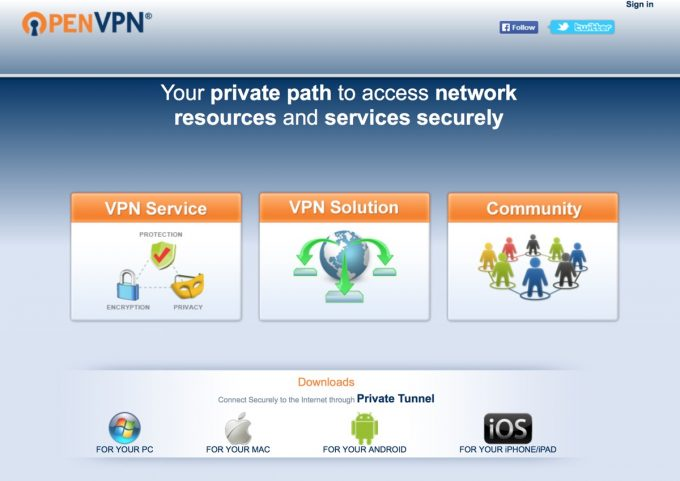 Website von Open VPN