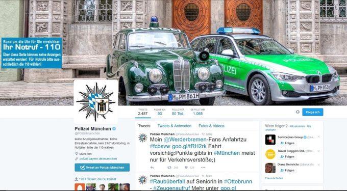 Twitterprofil der Polizei München
