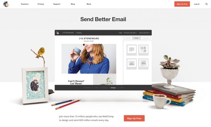 Screenshot der Mailchimp-Website