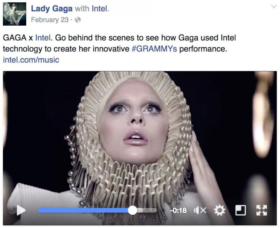 """""""Lady Gaga with Intel"""" – so sieht der etwas unscheinbare tag für Branded Content aus, den Facebook kürzlich vorstellte."""
