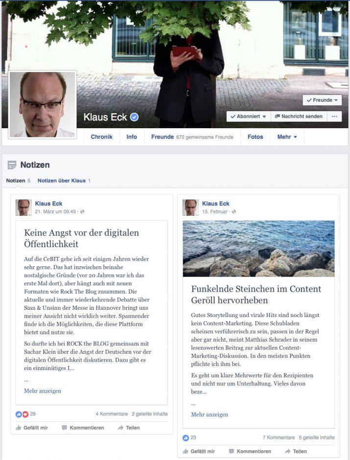 Content-Experte Klaus Eck nutzt regelmäßig die Notizen-Funktion auf seinem Facebook-Profil.