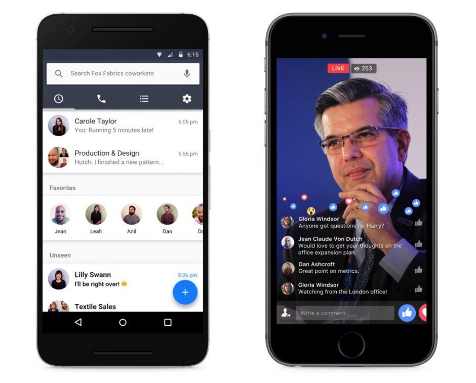 """Facebooks """"Workplace"""" will vor allem mit seiner Vertrautheit punkten. Dazu gehören Features wie der Messenger (hier """"Work Chat"""" genannt) sowie Facebook Live. (Foto: Facebook)"""