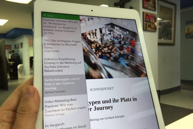 Die iPad-Version unserer App.