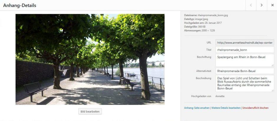 Screenshot der Bildverwaltung in WordPress mit Anhang-Details