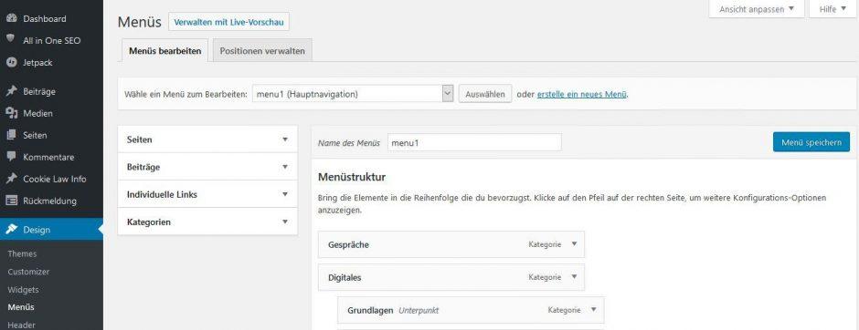 WordPress Backend zum Bearbeiten von Menüs