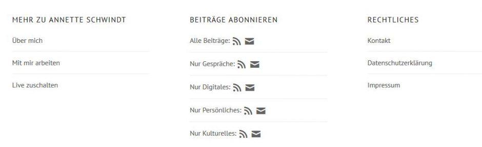 Footer-Navigation annetteschwindt.de