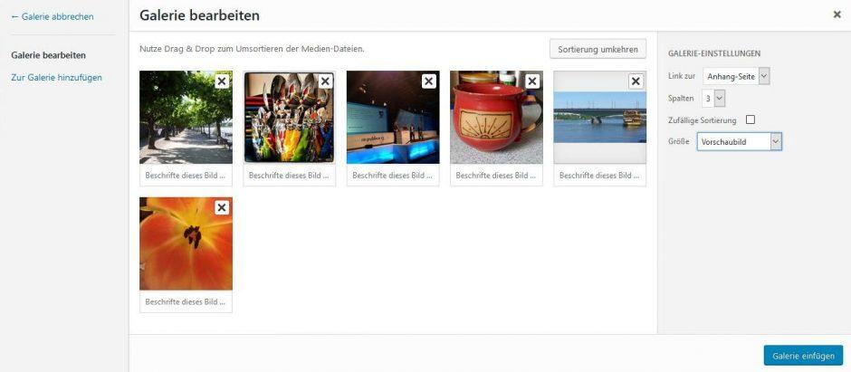 Screenshot vom Erstellen einer Bildergalerie in WordPress