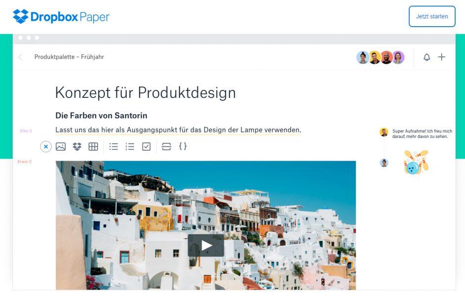 Dropbox Paper ist der neue Konkurrent für Microsoft Word365 und Google Docs. (Foto: Dropbox)