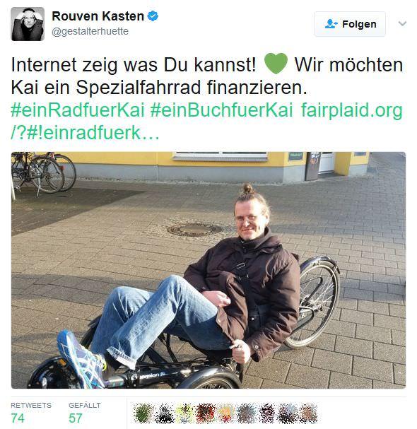Rouven twittert: Inernet zeig, was Du kannst! wir möchten Kai ein Spezialfahrrad finanzieren! #einRadfuerKai