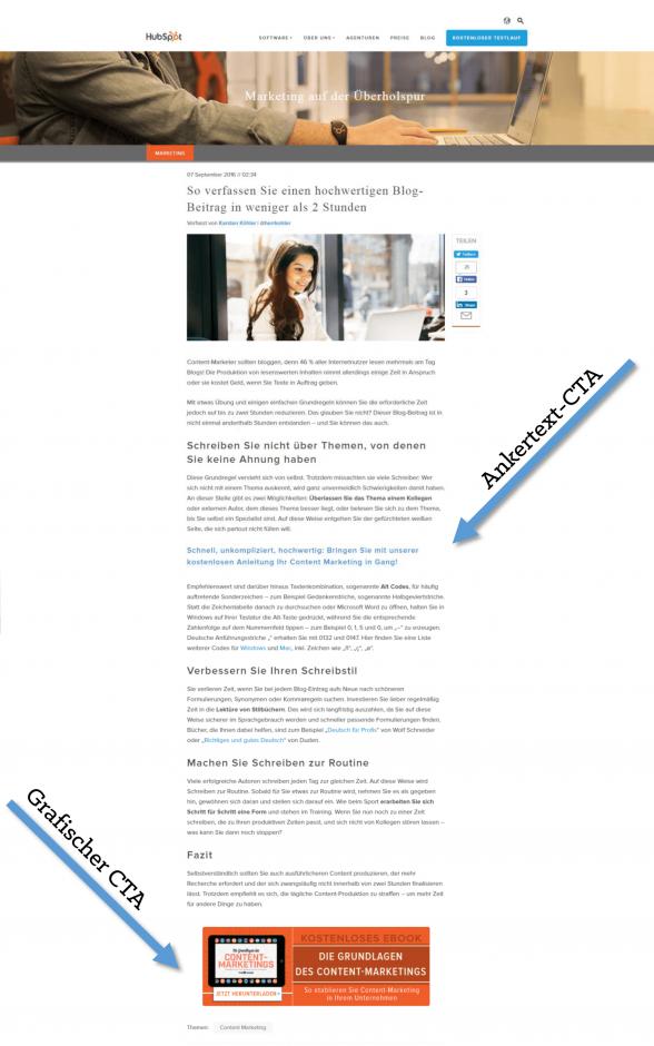 """Beispiel """"HubSpot-Blog"""": Ankertext-CTA und grafischer CTA animieren Website-Besucher zum Download eines kostenlosen Angebots (Quelle: HubSpot)."""