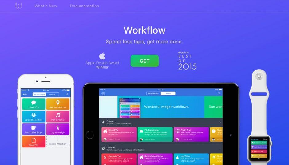 Screenshot der Website zur App Workflow.