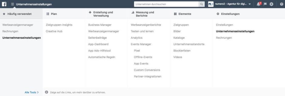 FB Business Manager Gesamtnavigation