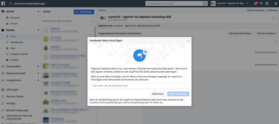 Dialog - Hinzufügen einer Facebook-Seite zum Business Manager