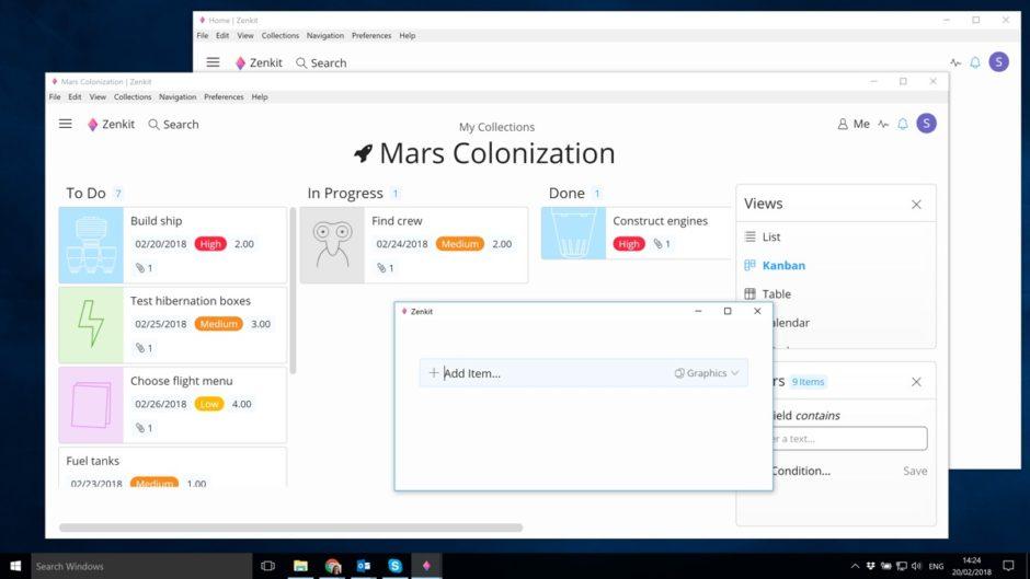 Screenshot von Zenkit unter Windows