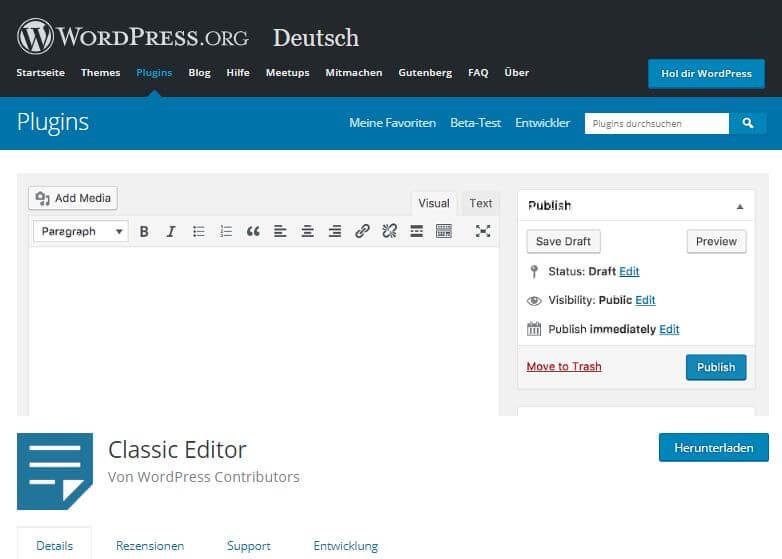 WordPress-Plugin Classic Editor
