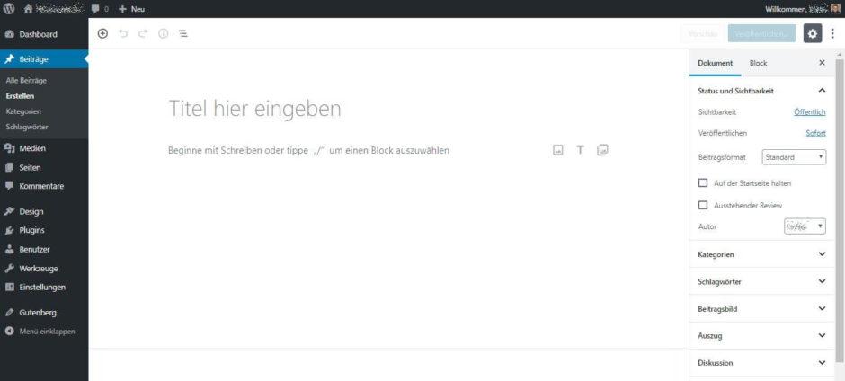 Der Gutenberg-Editor in WordPress