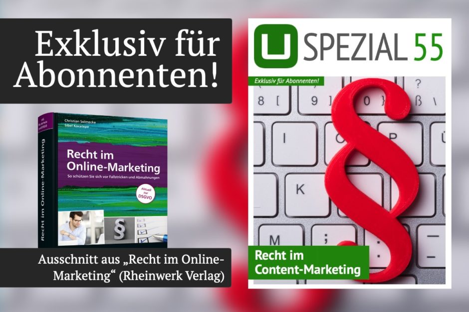 "UPLOAD Spezial 55 ""Recht im Content-Marketing"""