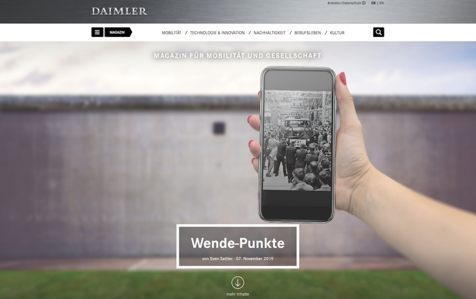 Screenshot neues Daimler-Magazin