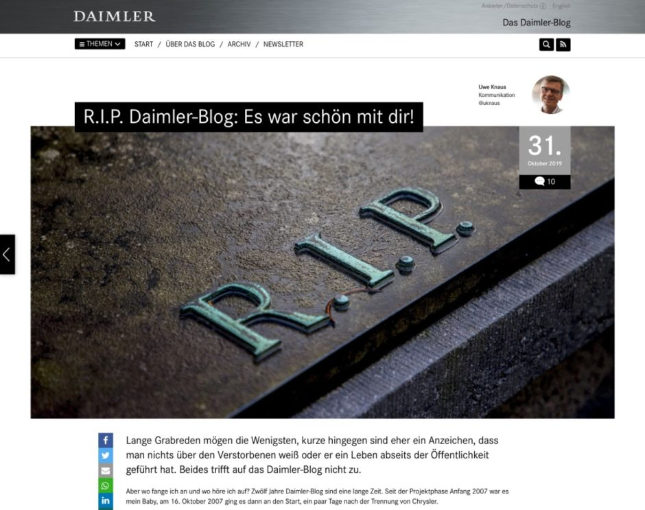 Screenshot Abschiedpost Daimler-Blog