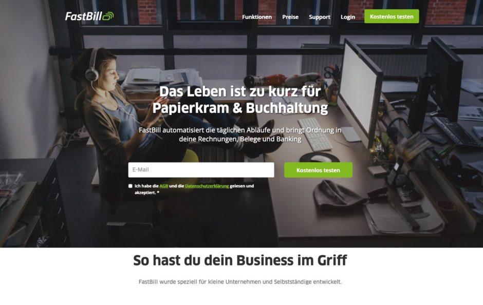 Startseite von FastBill