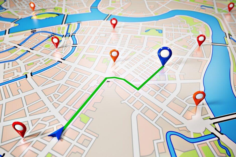 Symbolfoto zeigt Navigationsgrafik auf einer Landkarte