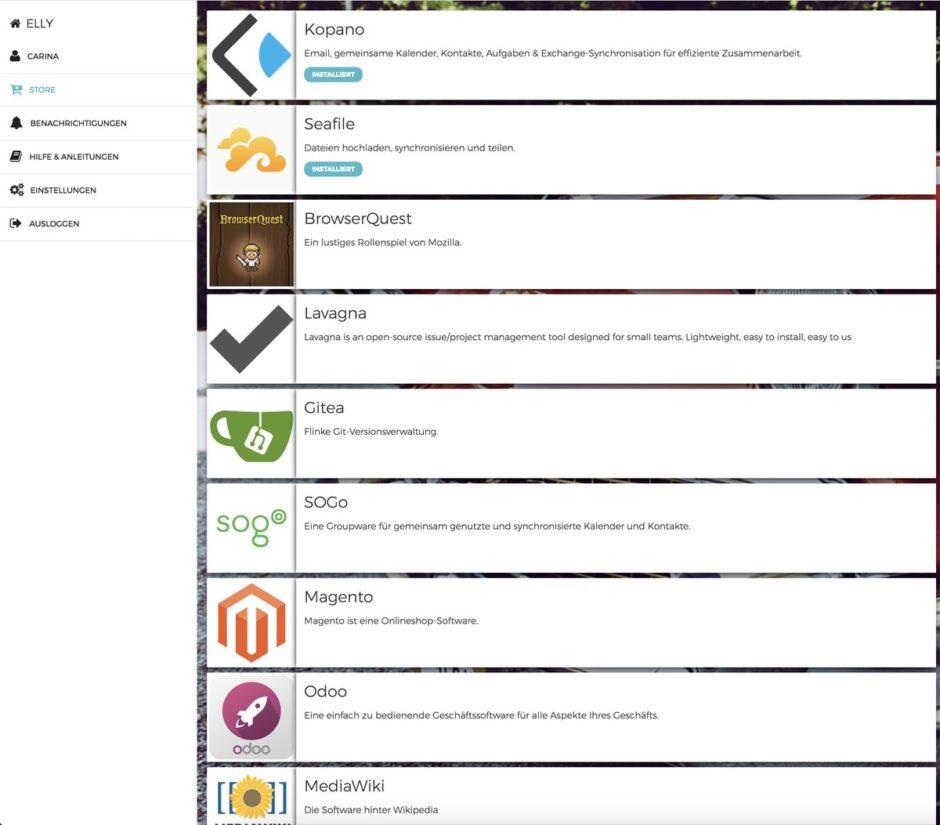 Liste von Anwendungen im ELLY Dashboard