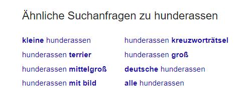"""Such nach """"hunderassen"""" bei Google"""
